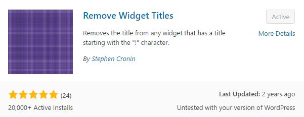 Remove Widget Titles plugin