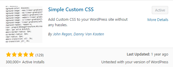 Simple Custom CSS plugin
