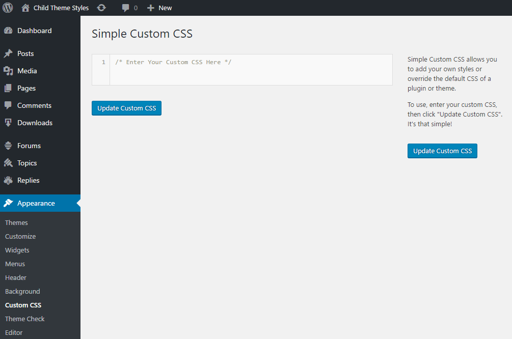 Simple Custom CSS screen